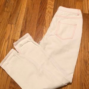 NWT Misguided white jeans with pink stitching